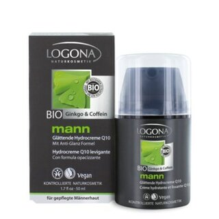 Logona Mann Smoothing Hydro Cream Q10 Bio Ginkgo & Coffein 50ml